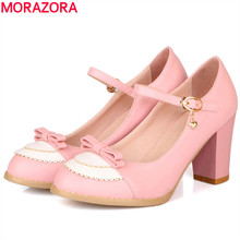 MORAZORA SIZE 34-45 2017 spring womens pumps buckle strap 8cm thick high heels round toe fashion ladies pumps wedding shoes