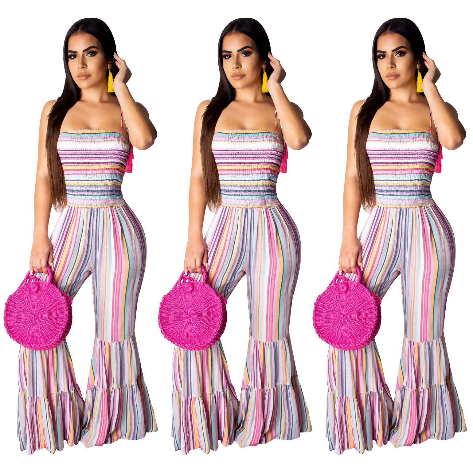 Sexy Colorful Striped Backless Flare   Jumpsuits   Boot Cut Women Summer Beach Rompers Spaghetti Strap   Jumpsuit