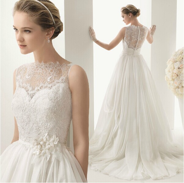 romantic wedding dresses fashion gown able lace wedding sash dress vestido de 7107