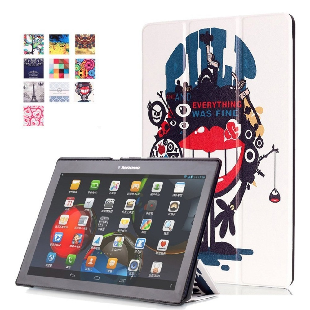 Tab 2 A10-70 Case Colorful Print Leather Cover for Lenovo Tab 2 A10-30 X30F X30L Tablet 10.1 inch Magnet Case tb2-x30l x30 X103F
