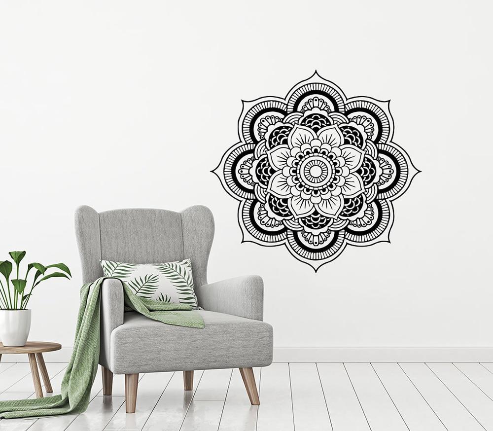 Mandala Wall Sticker Namaste Indian Lotus Yoga Stickers Vinyl Decals Flower Art Mural Home Decor Interior Design Bedroom D274