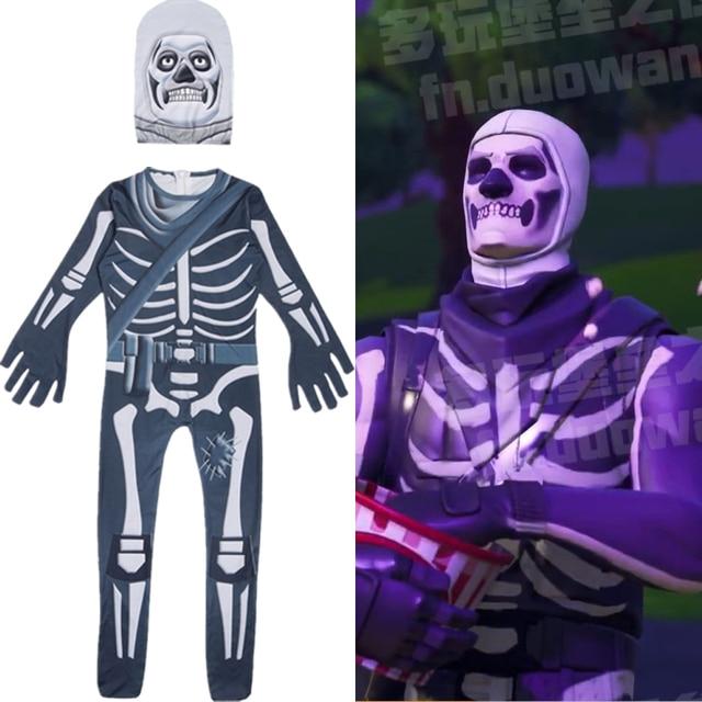 Battle Royale Skull Trooper Cosplay Jumpsuit Printing Children Halloween Party Costume Skull Skeleton Bodysuit