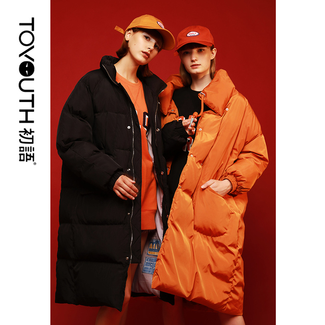 Toyouth свободные Для женщин зимнее пуховое пальто утепленная длинное пальто белая утка вниз куртка повседневная женская обувь Включите воротник Chaqueta Mujer