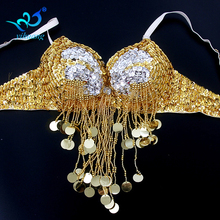 Outfits Dancewear Belly-Dance-Costume-Bra Tops Fringe Performance Oriental Bead One-Size