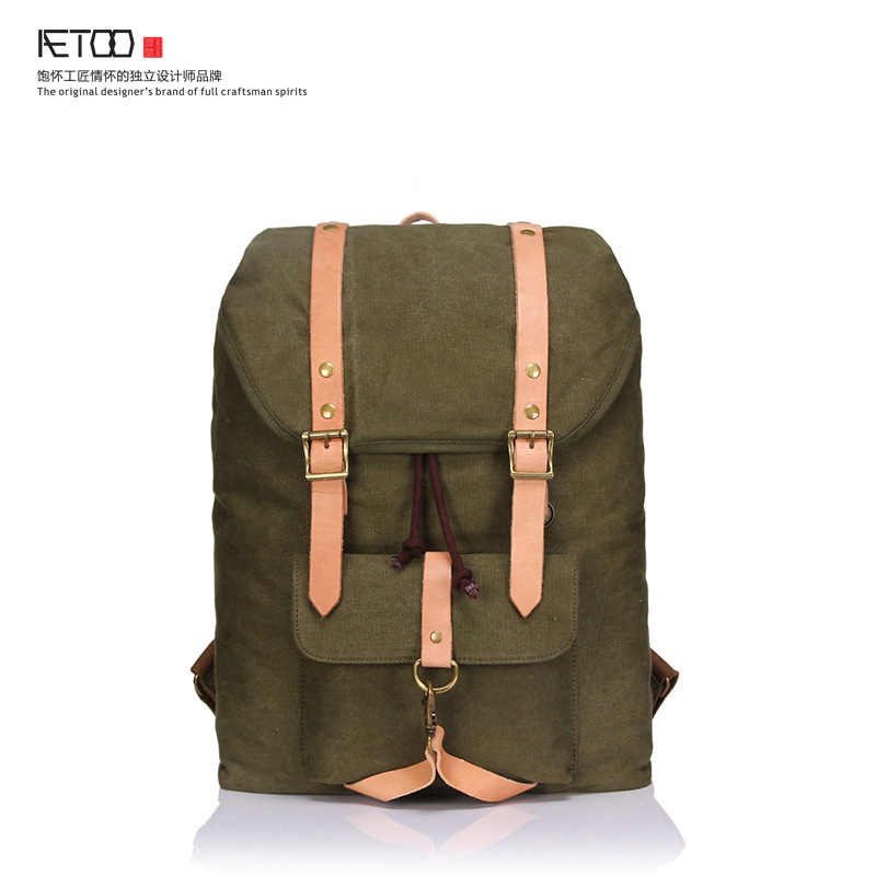 ФОТО 2017 new men's backpack shoulder bag canvas with tide package large-capacity retro bag