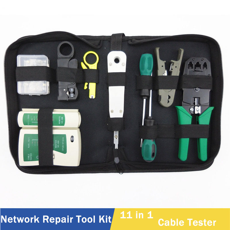 11 en 1 Kit d'outils de réparation de réseau informatique LAN testeur de câble coupe-fil tournevis pinces sertissage outil de Maintenance Set sac