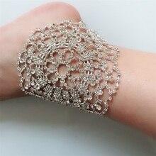 Nuevo diseño de Micro incrustaciones de cristales geométricos descalzo sandalias tobillera pie cadena pulseras boda playa joyería regalo