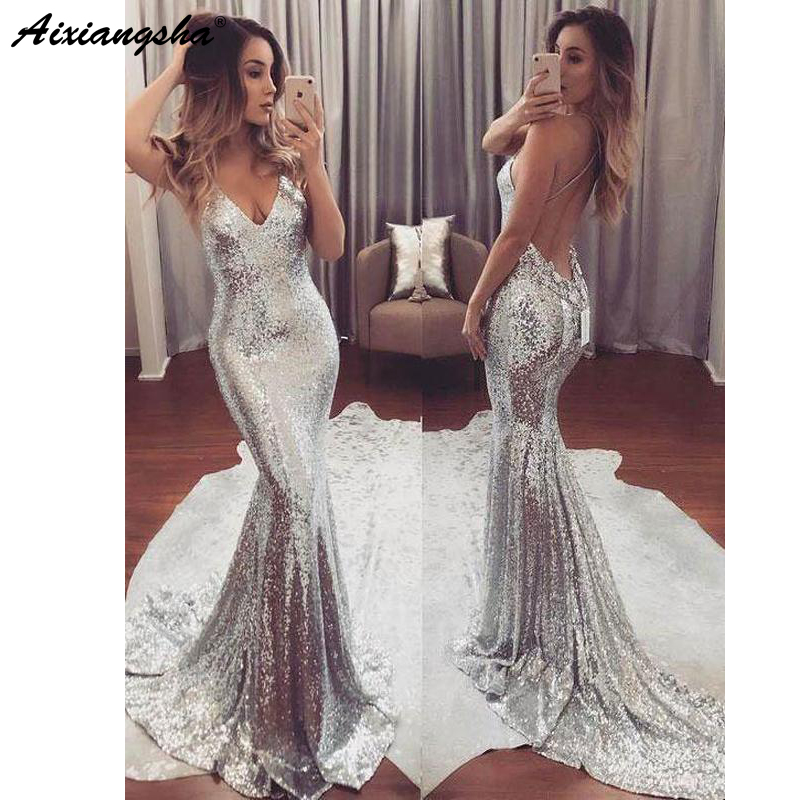 Sexy Backless Spaghetti Strap V-Neck Sparkly Long Silver Gold Prom Party Dress Mermaid Sequin Prom Dresses