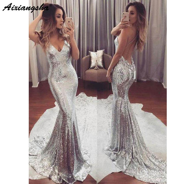 5a740aaa5e Sexy Backless Spaghetti Strap V-Neck Sparkly Long Silver Gold Prom Party  Dress Mermaid Sequin Prom Dresses