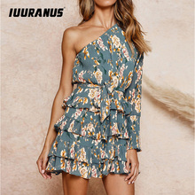 цены IUURANUS Bohemian Floral Print Summer Beach Dress Women Sexy One Shoulder Elegant Party Chiffon Dress Ladies Ruffled Mini Dress