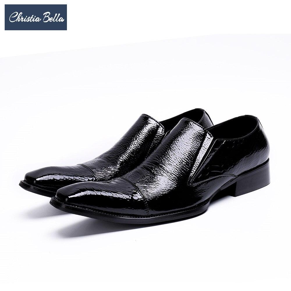 Christia Bella Classic Genuine Leather Men Shoes Square Toe Business Office Shoes Slip on Wedding Men Formal Dress Shoes Black