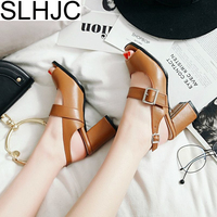SLHJC Summer High Heels Sandals Shoes Women 2018 New Leather Pumps Open Toe Gladiator Shoes Quality