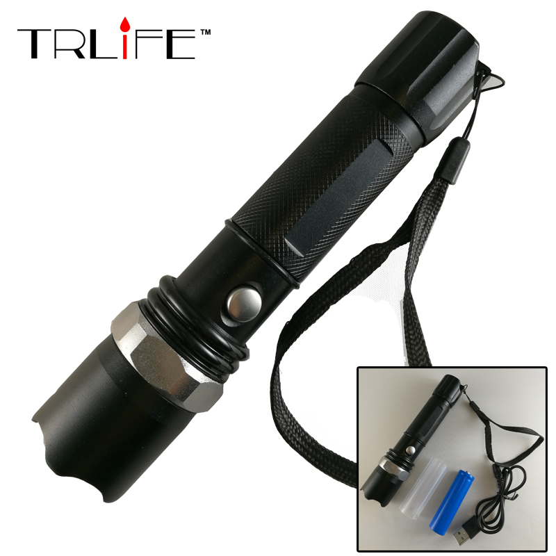 LED Flashlight XM-L T6 5000LM Aluminum Waterproof Zoomable flashlight Torch 3modes for 18650 Rechargeable Battery +USB Charger 1 7 11