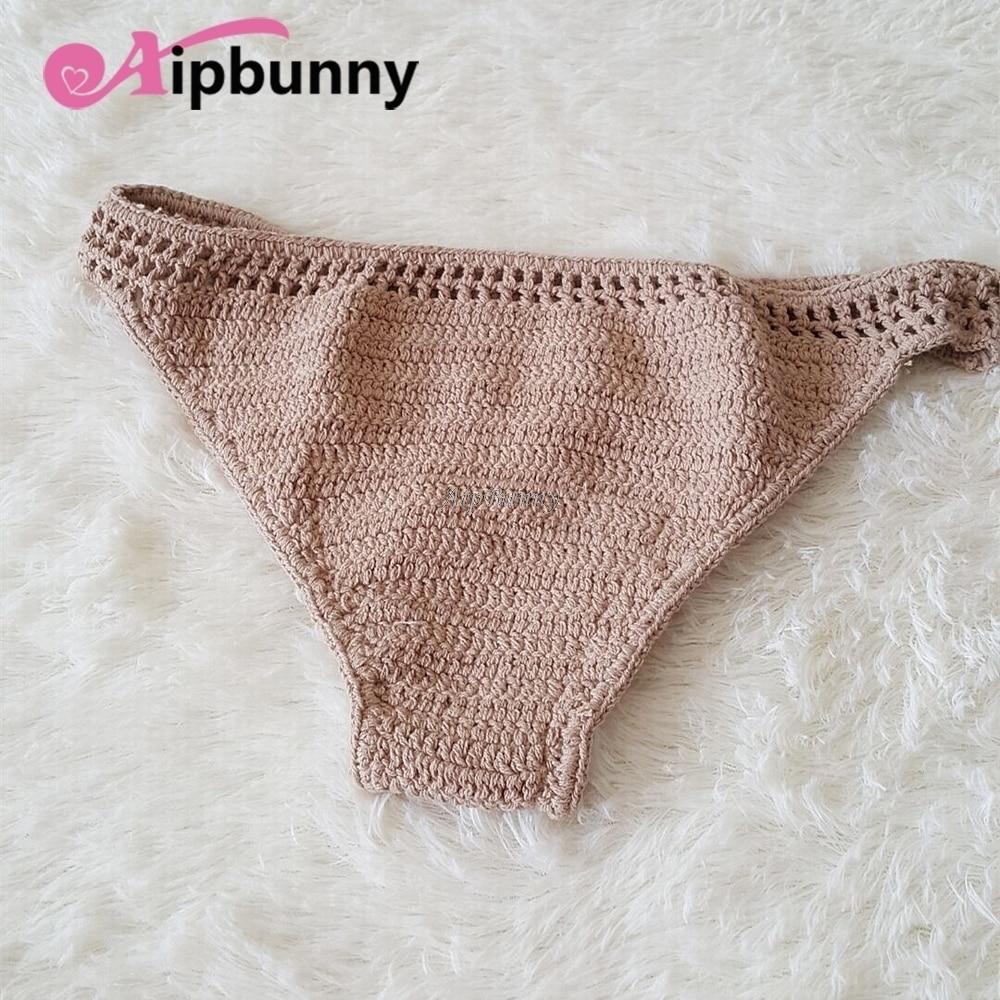 2018 Crochet Women Suit Comfortable Swimwear Bathing Bikini Bottoms Knitted Swimsuit Stretchy maillot de bain