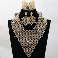 Latest Design African Women Jewelry Set Silver Nigerian Wedding Beads Necklace Set Costume Jewelry Set Free Shipping ABL219