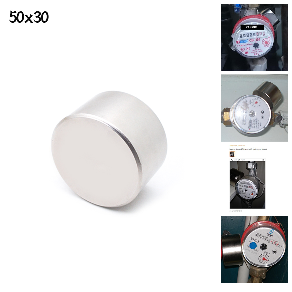 ZHANGYANG 1pcs <font><b>N52</b></font> Neodymium magnet 50x30 mm gallium metal super strong magnets <font><b>50*30</b></font> round magnet powerful permanent magnetic image
