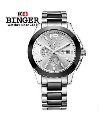 Binger Mens Brand Platinum Gray Silver Dial Ceramic Bezel Watch Chronograph Mens Automatic Machinery Watches Binger