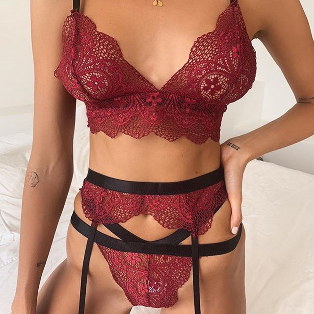 Wine Red And White Sexy Lingerie Soft Lace Babydoll Open Bra Set G-String Underwear Nightwear Sling Bra Sets For Woman