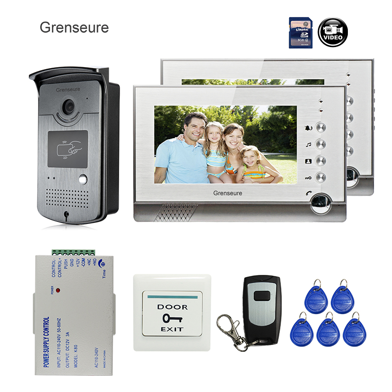 Waterproof Rain Cover Cheap Price Free Shipping 7 700tvl Door Monitor Video Intercom Home Door Phone Recorder System 2 Monitors 8g Sd Preventing Hairs From Graying And Helpful To Retain Complexion