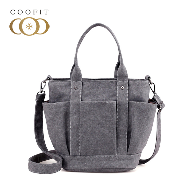 la meilleure attitude 8f370 449f5 US $21.18 44% OFF Coofit Multi Pocket Mother Bag New Style Casual Canvas  Shoulder Bag Sac Female Diaper Bags Shopping Travel Mummy Bags For  Ladies-in ...