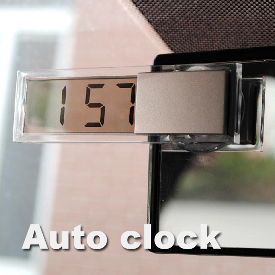 Mini Durable Transparent Clock with Sucker Digital LCD Display Car Electronic Clock with Sucker For All Car Silver