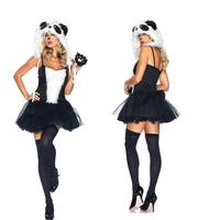 Sexy Cosplay Halloween Costume For Women Sling Black White Fur Dress Sexy Catwoman Carnaval Vrouwen Erotic Lingerie WL91