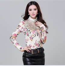 New Nice Pop Vogue  Women Floral Lace Fashion Casual Girl Blouse Popular Diamond Beaded Shirt Women Clothes A818