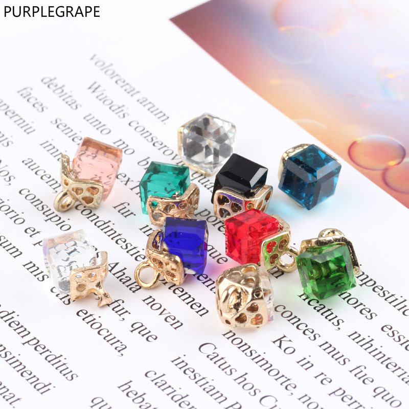 PURPLEGRAPE DIY ear jewelry accessories K gold square crystal pendant earrings bracelet material alloy  10 pieces