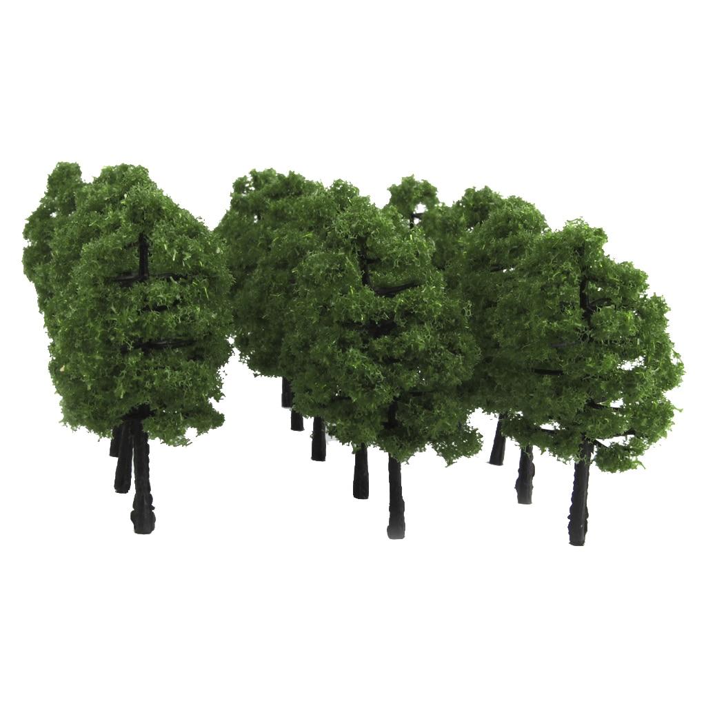 20 Pieces Plastic Model Trees Train Railroad Scenery Layout 1:100 Scale Dark Green Miniature Landscape Accessory