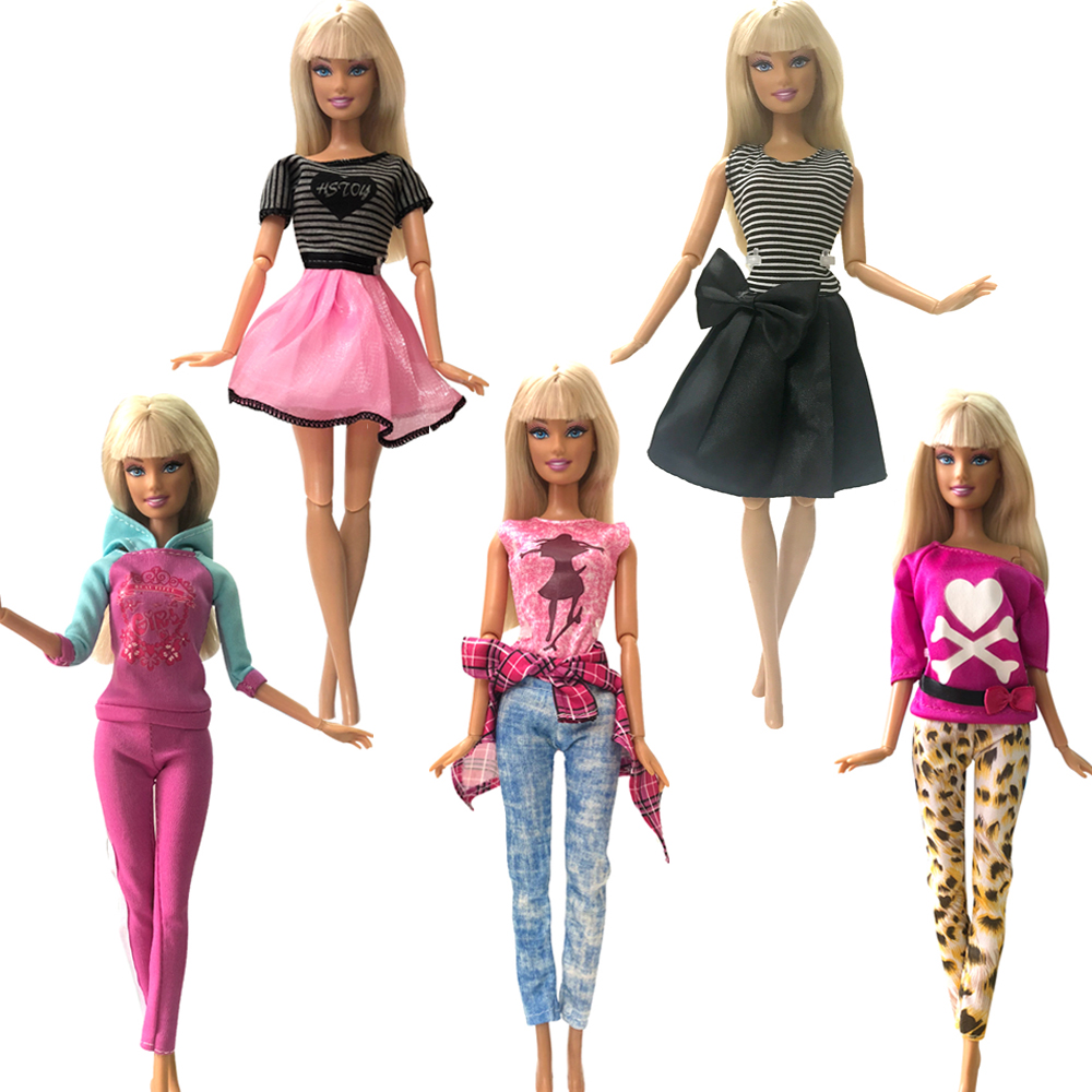 NK 5 Pcs/Set Mix Doll Dress Beautiful Handmade Party Clothes Top Fashion Dress For Barbie Noble Doll Child Girls'Gift  030A DZ