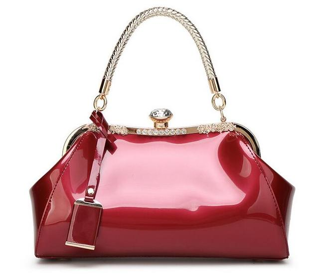 Women Patent Leather Handbags 2017 New Ladies Vintage Diamonds Tote Glossy PU Leather Female Crossbody Bags Candy Color Bag B115