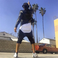Justin Bieber Extended T Shirt Mens Fishtail Multi Fold Curved Hem Side Zipper Short Sleeve Longline