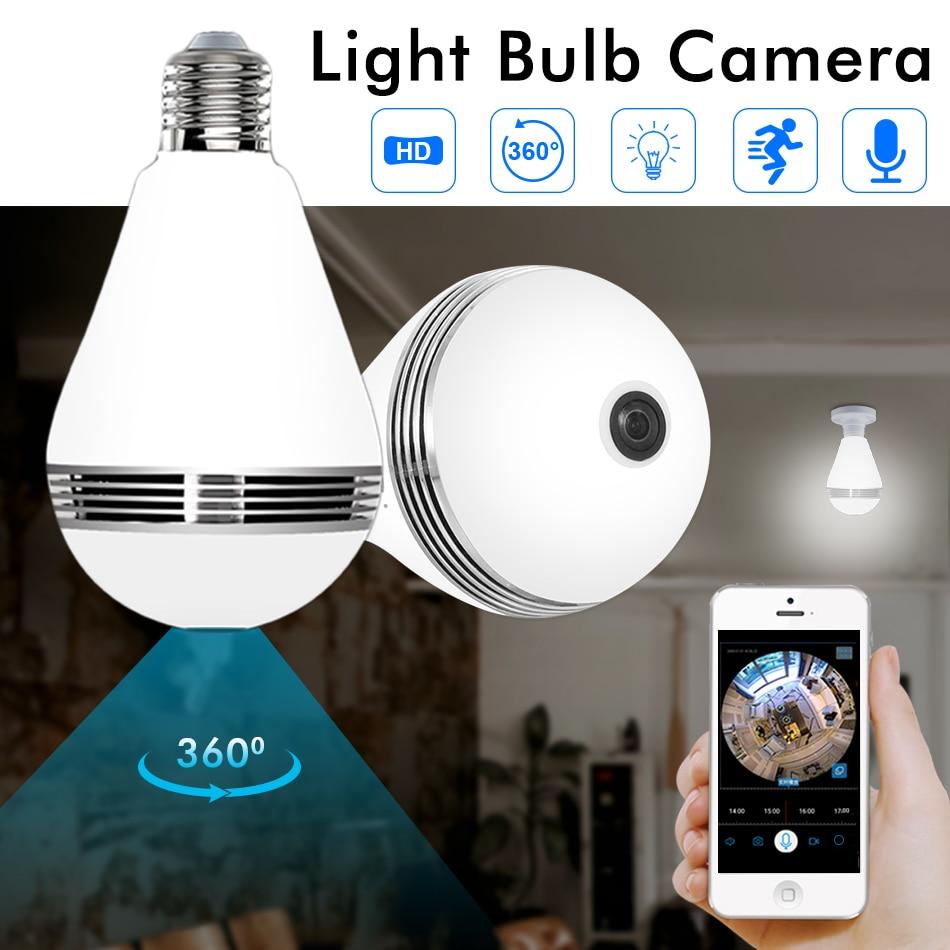 Hiseeu HD 3MP Lamp Bulb Light Wireless IP Camera 360 Degree FishEye CCTV 3D VR Camera Home Security WiFi Camera Panoramic