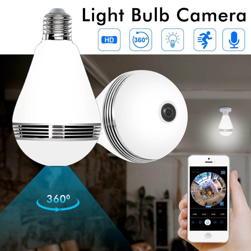 Hiseeu HD 3MP lampe birne licht Wireless IP Kamera 360 grad FishEye CCTV 3D VR Kamera Home Security WiFi Kamera panorama