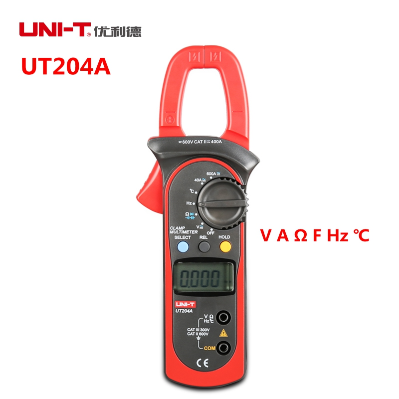 UNI-T UT204A Digital Clamp Multimeter 600A 600V Auto Range Current Voltage Resistance Frequency Testers Thermometer