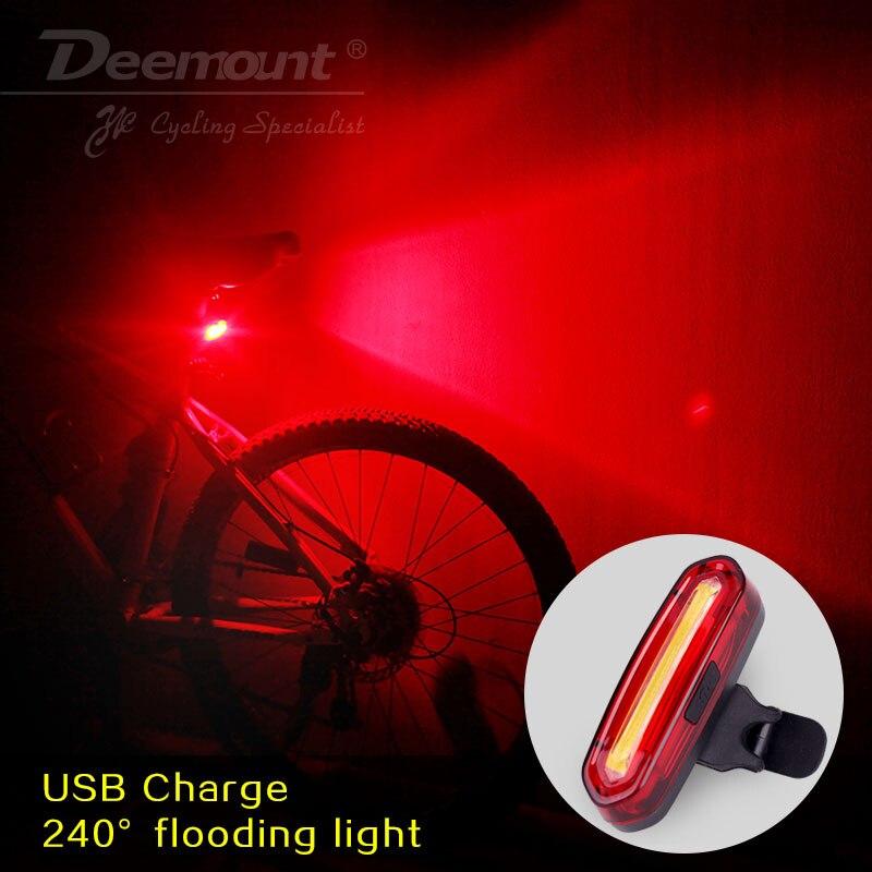 Deemount 100 lm recargable cob led usb mountain bike mtb de la bicicleta de la luz posterior de la bicicleta de advertencia de seguridad luz trasera luz trasera de la lámpara