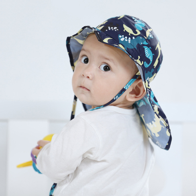 0a8b4366a09 UV Sun Protection Baby Hat Flap Sun Hat Cotton Girls Boys Summer Hat Neck  Protection Kids