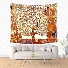 Customized Gustav Klimt Work Printed Tapestry Wall Hanging Tapestries Christmas Wedding Decoration Blanket Table Cloth