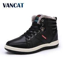 Vancat брендовая зимняя Для мужчин модные кожаные ботинки Повседневное Для мужчин Кожаные Мокасины зимние Мужская обувь мужские полусапоги дешевые ковбойские ботинки