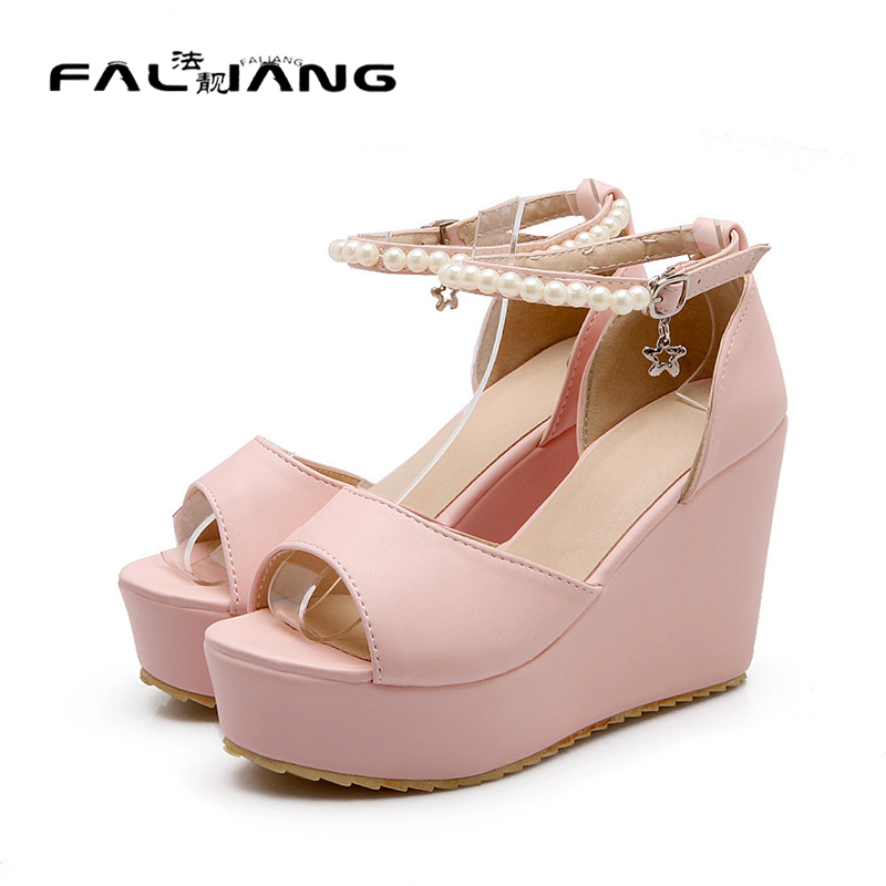 ФОТО New 2017 sweet Summer Style Comfortable Bohemian Wedges Women sandals Lady Shoes ankle strap Platform sandals