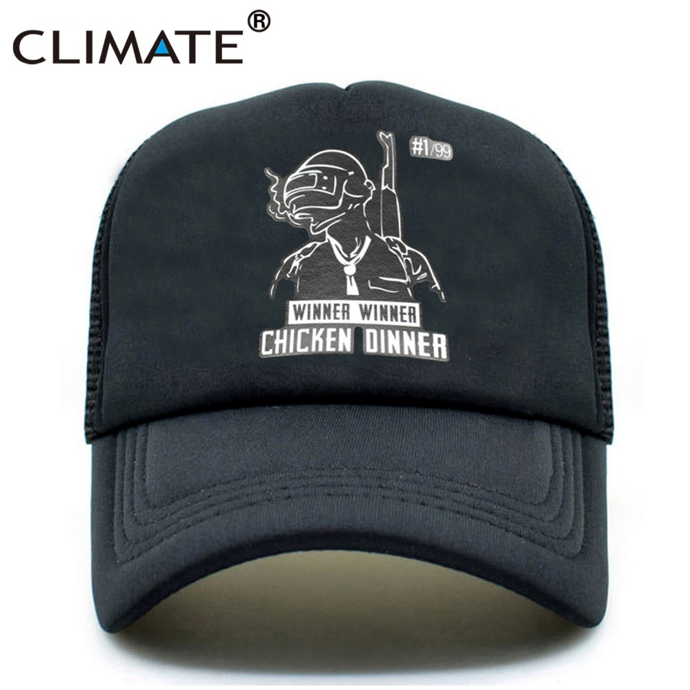 CLIMATE Men PUBG Trucker Mesh Caps Hat Summer Cool Black Mesh Caps Winner Winner Chicken Dinner Baseball Net Trucker Caps Hat climate men summer black mesh caps star wars bounty hunter fans cool summer baseball cap black net trucker caps hat for men