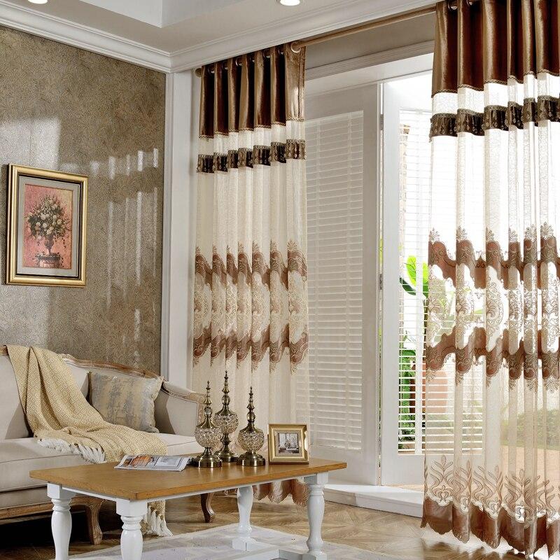 Stores brodés européens rideaux transparents et Tulle rideaux de Voile de fenêtre pour salon chambre rideaux pour le salon