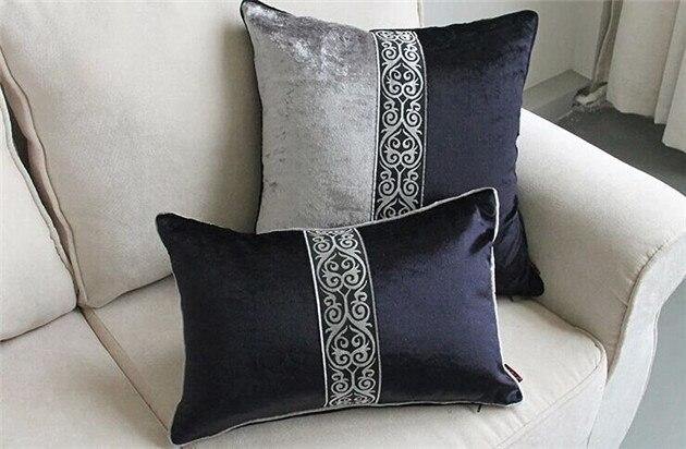 Europe 45 50 60x60 Dark Grey Velvet Pillows Luxury
