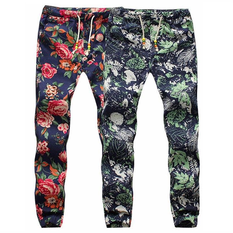 Men's Fashion Floral Casual Pants Men Thin Skinny Linen Long Trousers Sarouel Bandana Pants Hip Hop Harem Pants Jogger Pants