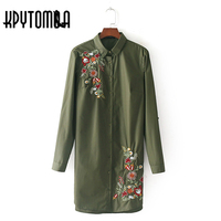 Vintage Floral Embroidery Long Blouse Shirt Women 2017 New Fashion Europe Style Side Split Long Sleeve
