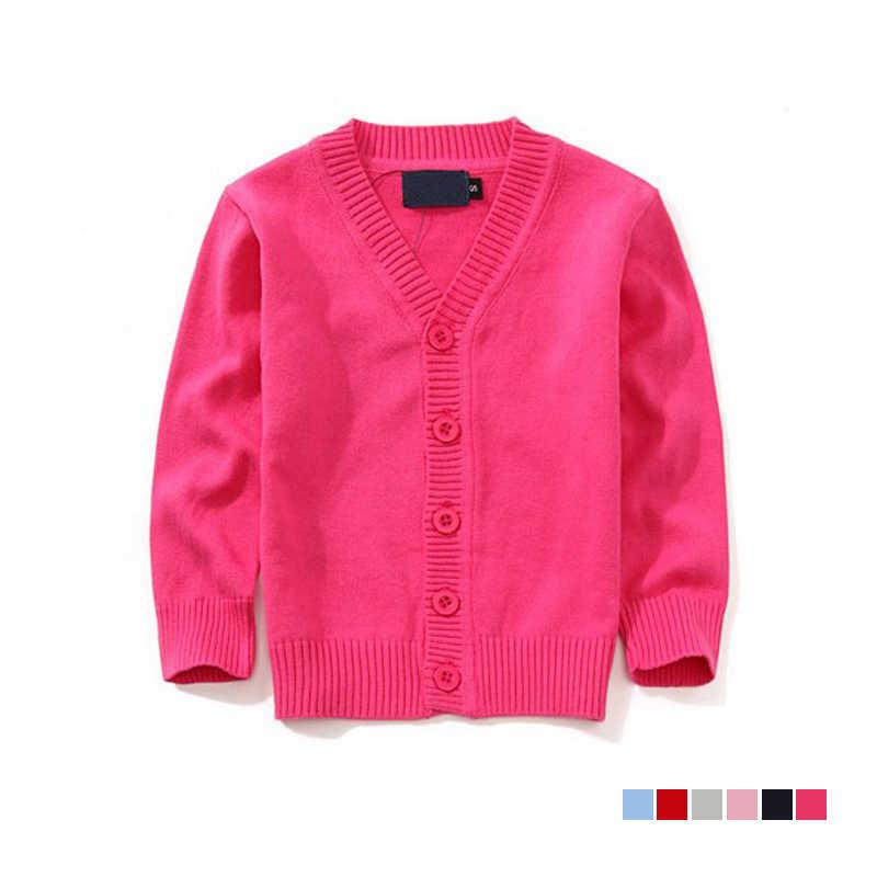 2018 秋の子供 7 色カーディガンコート少年セーターキャンディーの色 100% コットンシングルブレストジャケットアウター