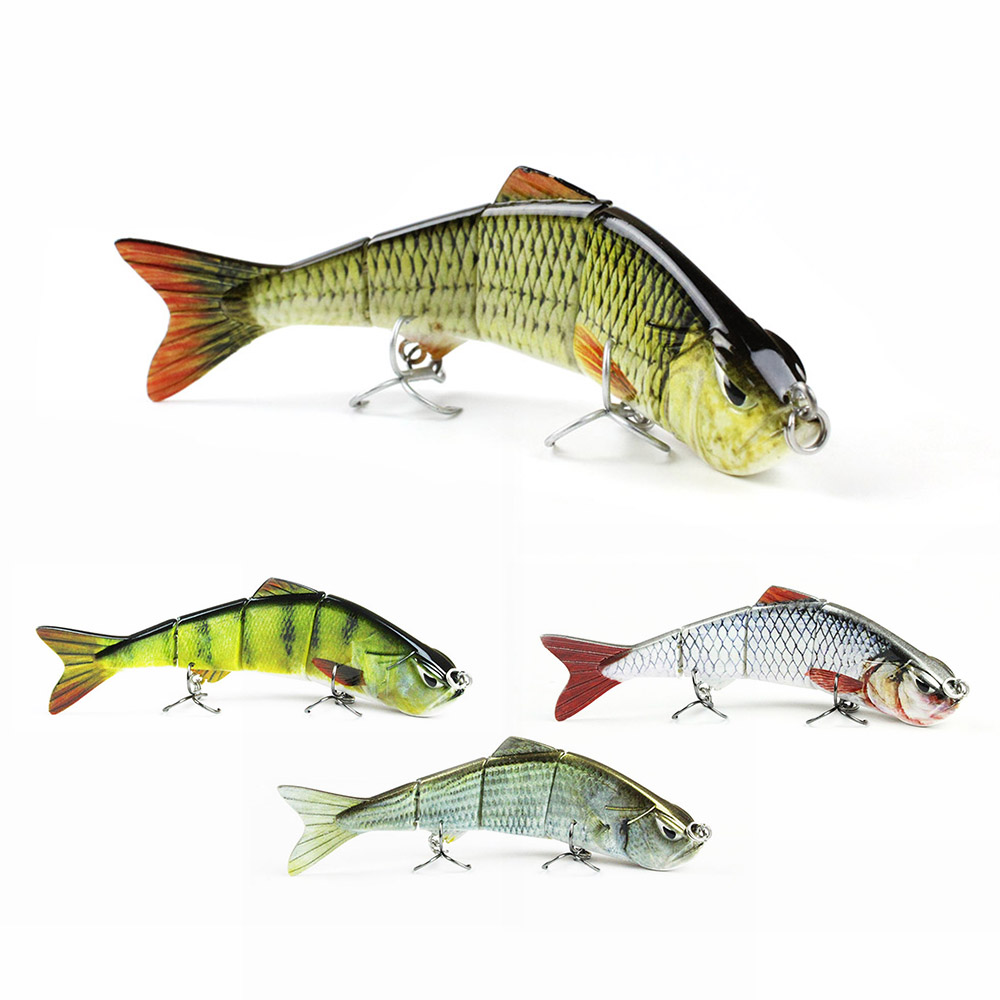 5 Minnow Fishing Lure 4 Segment Fishing Bait Lifelike Crankbait VMC Hook Wobbler Tackle  3D Eyes Hard Bait Fish Pesca #AL03C sealurer big tongue minnow fishing lure float wobbler 16cm 27 5g sea fly pesca hard bait crankbait tackle 1pcs lot