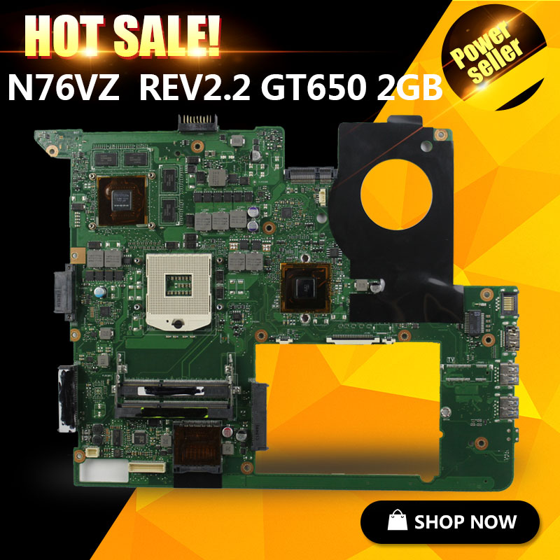 For ASUS N76VJ N76VB N76VZ N76VM N76V REV:2.2 Laptop Motherboard 2GB USB3.0 GT650M fully tested for asus n76vj n76vb n76vz n76vm n76v rev 2 0 laptop motherboard 2gb usb3 0 n14p ge op a2 gt740m fully tested