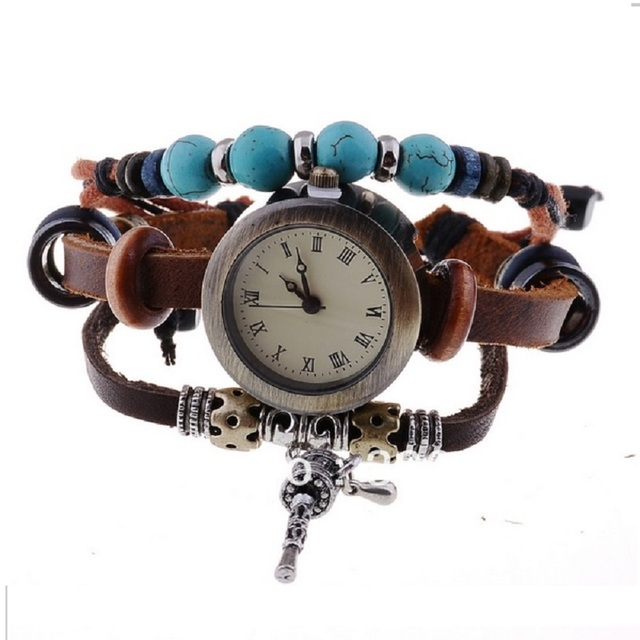 TOP turquoise vintage Genuine Leather Bracelet Watch Women Lady Indian Charm Ret