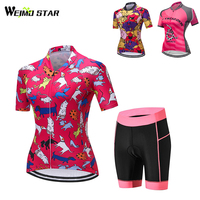 Pink Shirt Cycling Jersey WEIMOSTAR Women Outdoor Bike Jerseys Moutain Breathable Ropa Ciclismo MTB Shorts Suit 3 Types